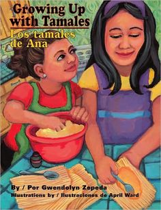 """My name is Ana. Every year, my family makes tamales for Christmas. This year, I am six, so I get to mix the dough, which is made of cornmeal. My sister Lidia is eight, so she gets to spread the dough on the corn husk leaves. I wish I was eight, so that my hands would be big enough to spread the dough just right--not too thick and not too thin."""
