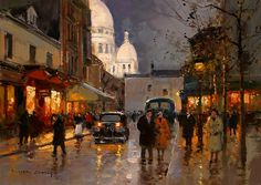 Eduardo Leon Cortes, Sacre Coeur at night.