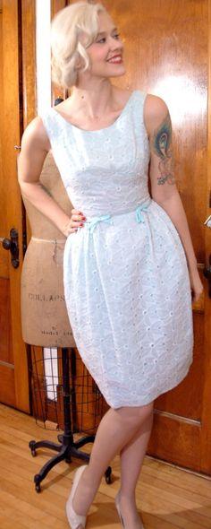 1950s Dress // Blue & White Eyelet // Vintage by dethrosevintage, $88.00