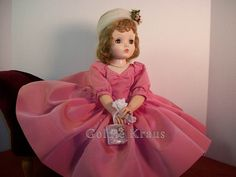 Cissy Doll in Original Outfit: Rose Taffeta Dress with Matching Pillbox Hat from 1956