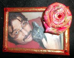 Ribbon rose on altered frame  (Flower based on the pictorial found here: http://gedane.over-blog.com/pages/rose-2667048.html)
