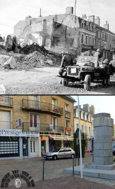 Then and now... Isigny-sur-Mer: a jeep of the Military Police at Place Gambetta (today Place General de Gaulle), which was destroyed by two bombardments on 8  june 1944 (© Normandy WW2 Then & Now)