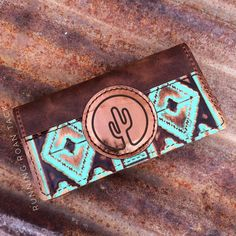 Tan Aztec Tri-Fold Ladies Wallet with Cactus Leather Patch by Running Roan Tack