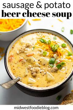 This hearty soup combines the well known flavors of sausage and potato soup with the very classic Wisconsin beer cheese soup. hairstyles easy Beer Cheese Potato Soup with Sausage Diet Food To Lose Weight, Beer Cheese Soups, Beer Soup, Potato Beer Cheese Soup Recipe, Potato Soup Recipes, Simple Soup Recipes, Wisconsin Cheese Soups, Queso Soup Recipe, Best Potato Soup