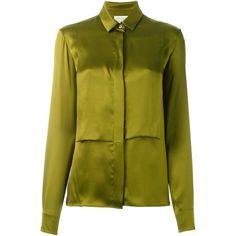 Maison Margiela overlay bib shirt (4.628.980 IDR) ❤ liked on Polyvore featuring tops, green, silk shirt, silk top, long-sleeve shirt, green silk shirt and collar top