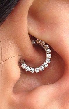 Simple and Cute Ear Piercing Ideas at MyBodiArt.com - Crystal Daith Earring Clicker 16G