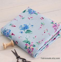 Shabby Chic Quilting Cotton Lining Fabric Blue by fabricmade