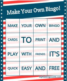 Free printable and virtual bingo card generator Bingo Cards To Print, Custom Bingo Cards, Free Printable Bingo Cards, Bingo Card Template, Printables, Music Bingo, Word Bingo, Bingo Games, Party Games