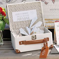 Mini Suitcase Wishing Well (Alternative Wedding Guest Book) (Wedding Star 9402) | Buy at Wedding Favors Unlimited (http://www.weddingfavorsunlimited.com/mini_suitcase_wishing_well.html).