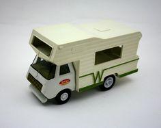 Vintage Tonka Winnebago camper, vintage Tonka truck, metal toy, summer vacation, travel, 1970s toy