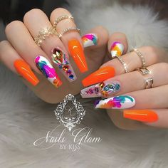 50 Beautiful Nail Art Designs & Ideas Nails have for long been a vital measurement of beauty and Nail Art Designs, Colorful Nail Designs, Beautiful Nail Designs, Acrylic Nail Designs, Orange Nail Designs, Great Nails, Fabulous Nails, Gorgeous Nails, Ongles Bling Bling