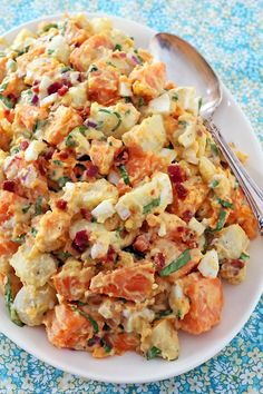 Russet & Sweet Potato Salad with Bacon, chopped eggs and spinach