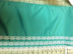Vintage Turquoise Green Taffeta  White Lace Trim 11  inches wide  1 yard