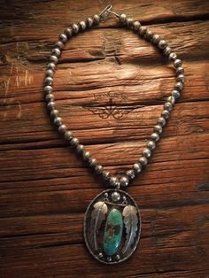 Iron Crow Rockin Vintage - On Sale! Today thru tomorrow only! Stunning! 1920's Navajo large Sterling Silver and turquoise pendant with Rarest Sand cast beads also known as Navajo Pearls originally $700 now $350 that's 50% off! Can't go any lower! , $350.00 ...