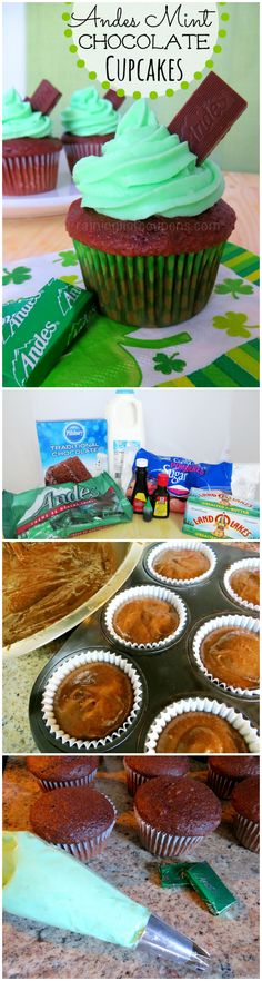Andes Mint Chocolate Cupcakes http://www.creeklinehouse.com/2013/11/super-terrific-tip-for-speed-peeling.html