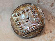Mother of Pearl Antique Button with Gold Accent by Lindasbuttons