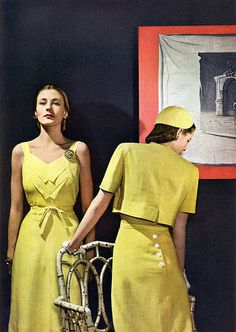 1944 fashion style color photo print ad models magazine yellow sundress day dress sun tie jacket bolero short sleeves hat 40s war era