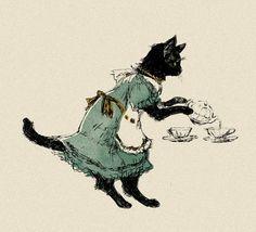 Black cat serving tea - Illustration by Kawashima on Pixiv Animal Art, Art Inspo, Drawings, Cat Art, Cute Art, Illustration Art, Art, Pretty Art, Aesthetic Art