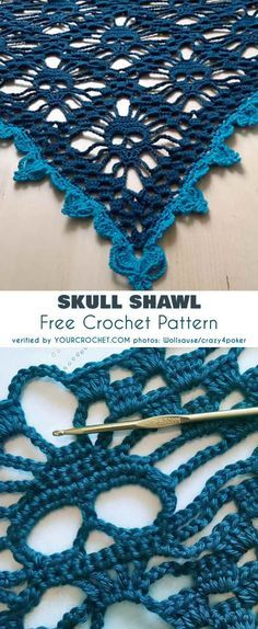 Knitting Patterns Shawl Skull Shawl Free Crochet Pattern pattern for Halloween Crochet Gifts, Crochet Yarn, Crochet Stitches, Crochet Hooks, Crochet Granny, Crotchet, Crochet Skull Patterns, Crochet Patterns For Scarves, Stitch Patterns