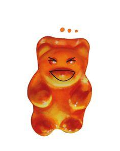 """LAUGH"" 40x50 print on #canvas #gummybears #art #artforall #sabrinarocca #aaart #emoji #decor #interiordesign #decoration #gnummy http://www.aaart.eu/shop/artchandising/laugh-gnummy/"