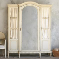 One of a Kind Antique Armoire Pale Painted Cream