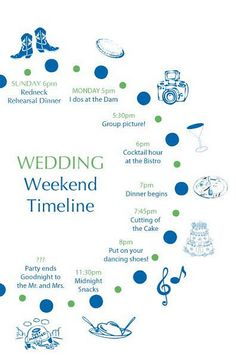 Wedding Timeline for OOT packets, from Tori and Chad's wedding, designed by Gourmet Invitations