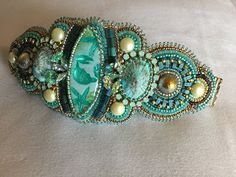 Baubles and Beads: Mountain Girl Anniversary Bead Embroidered Bracelet, Embroidery Bracelets, Bead Embroidery Jewelry, Beaded Jewelry Patterns, Beaded Embroidery, Beading Patterns, Beaded Bracelets, Leather Bracelets, Baubles And Beads