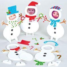 Moosgummi Bilderrahmen Bastelsets Schneemann für Kinder zum Basteln und Verzieren - Weihnachtsdeko (5 Stück)