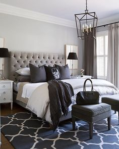 Black, white and every shade in between! Very cool bedroom by Sneller Custom Homes