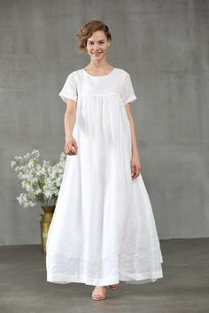white dress maxi dress linen dress short sleeve dress white linen dress for women. 【Characteristic】 Extravagant flattering loose dress , so elegant and comfy . Perfect solution for your everyday outfit:) . White Linen Dresses, Elegant Dresses, White Dress, Mode Outfits, Dress Outfits, Chifon Dress, Skirt Fashion, Fashion Dresses, Fashion 2017
