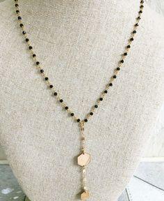 Gold Hexagon Lariat Necklace / Geometric Necklace / Black Spinel Lariat…
