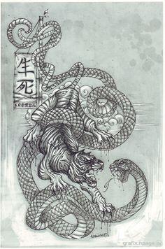 Bildergebnis für tiger fights snake tattoo