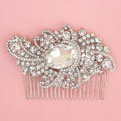Vintage Inspired Silver Rhinestone Hair Comb