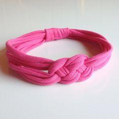 Comfy girls/womens headband in pink upcycled t-shirt yarn via Etsy