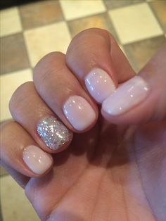 Vegas nails! No chip manicure using Gelish Romantique with silver sparkle