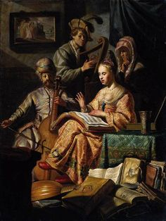 REMBRANDT Harmenszoon van Rijn  (b. 1606, Leiden, d. 1669, Amsterdam)    The Music Party  1626  Oil on wood, 64 x 48 cm  Rijksmuseum, Amsterdam