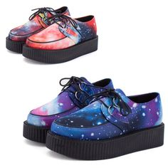Womens Autumn Winter 2014 Harajuku Style Creepers Platform Cross Women Casual Comfortable Shoes Galaxy Blue Goth Punk boots-in Boots from Shoes on Aliexpress.com | Alibaba Group