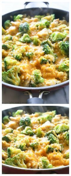 One-Pan Cheesy Chicken, Broccoli, and Rice - an easy dinner that the whole family will love. the-girl-who-ate-everything.com