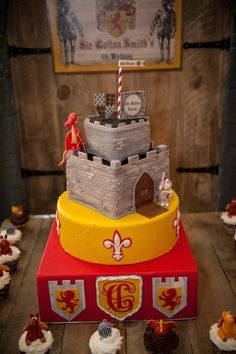 Knight and Dragon themed birthday party via Kara's Party Ideas KarasPartyIdeas.com Printables, cake, decor, favors, recipes, etc! #dragonpar...