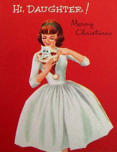 Vintage Christmas Greeting Card - Norcross Fuzzy Flocked 1950s Girl and White…