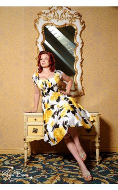 Evelyn Dress in Yellow and Black Vintage Floral Print - Dresses - Clothing | Pinup Girl Clothing