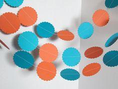Orange and Aqua Paper Garland,Confetti Garland,Birthday Garland,Nursery Garland,Photo Prop Garland, Circle Garland,10 feet