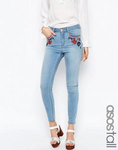 ASOS TALL Ridley High Waist Skinny Jeans in Surf Wash with Embroidery – Light blue. Tall Women's Clothing at PrettyLong.com