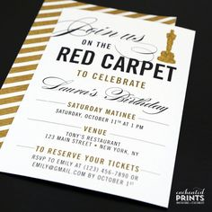 Red Carpet Birthday Party Invitation Awards by EnchantedPrints