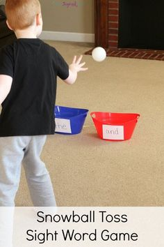 Snowball toss sight word game for winter. Combine gross motor skills and literacy for an exciting way to learn letters, numbers or words!
