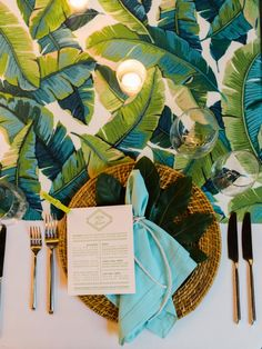 Rehearsal dinner tabletop design using banana leaf fabric and seagrass charger. Design by Tara Guerard; Photo by Liz Banfield; menu by Lettered Olive Dinner Places, Table Top Design, Leaf Table, Menu Cards, Rehearsal Dinners, Place Settings, Tablescapes, Summertime, Plant Leaves