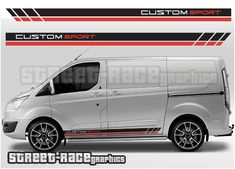 Supplied in 4 pieces for each side of the van. These stripes are shown on a SWB Transit Custom, but we can make the graphics longer to fit the LWB Custom, or the Transit Custom, Racing Stripes, Ford Transit, Union Jack, Main Colors, Color Show, Colorful Backgrounds, Vans, Peugeot