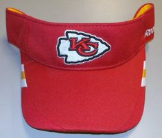 Reebok Kansas City Chiefs 2011 Sideline Coaches Visor Adjustable by Reebok. $8.99. Contrasting panels on brim Officially licensed Made in China. NFL® team logo appliqué on frontReebok® wordmark on left side. Moisture-wicking visor. 100% polyester. Protect those eyes from the sun while showing true team dedication with the Reebok® 2011 Sideline Coaches visor! An NFL® team logo appliqué decorates the front, while contrasting panels adorn the brim.