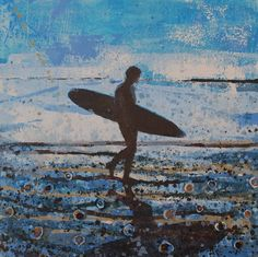 Surfer Returning, Fistral Beach. Original Painting by Melanie McDonald. Art prints available.