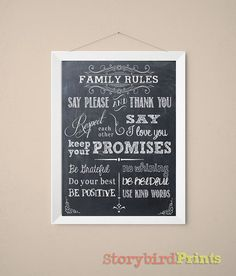 Hey, I found this really awesome Etsy listing at https://www.etsy.com/listing/190254230/family-rules-chalkboard-art-5x7-8x10